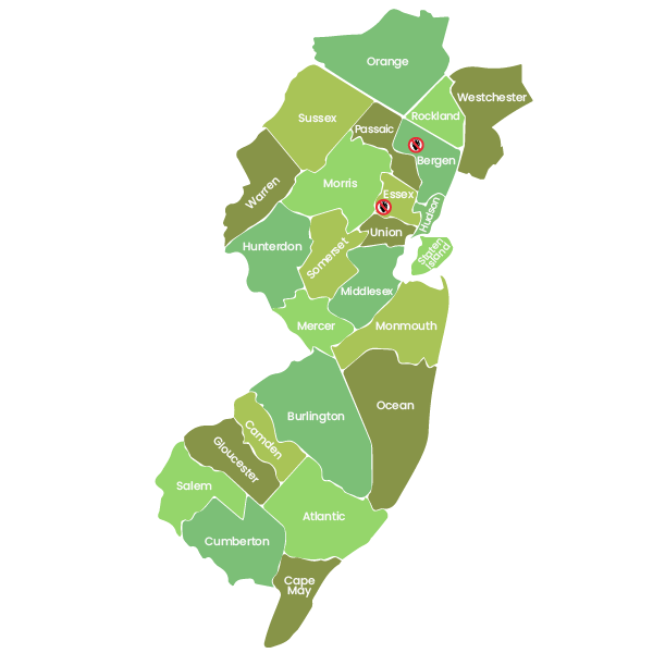 Map of New Jersey Counties - Lice Be Gone